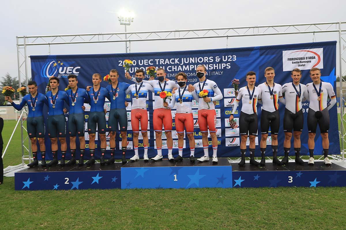 Il podio dell'Inseguimento a squadre U23 all'Europeo di Fiorenzuola (foto Fabiano Ghilardi)