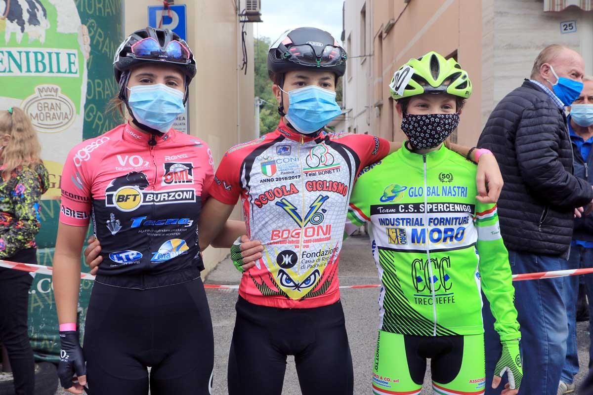 Il podio della gara Donne Esordienti di Sarcedo (foto Fabiano Ghilardi)