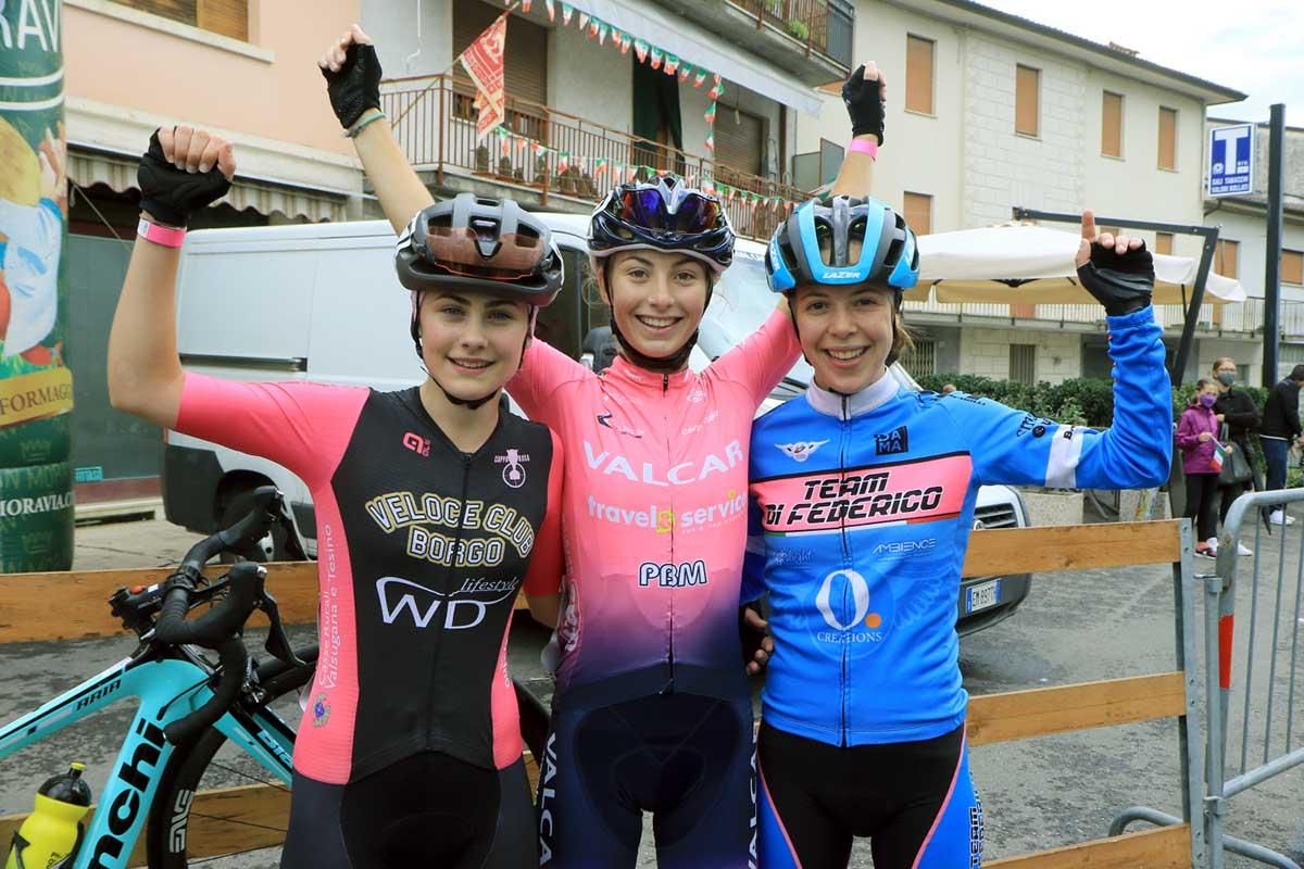 Il podio della gara Donne Allieve di Sarcedo (foto Fabiano Ghilardi)