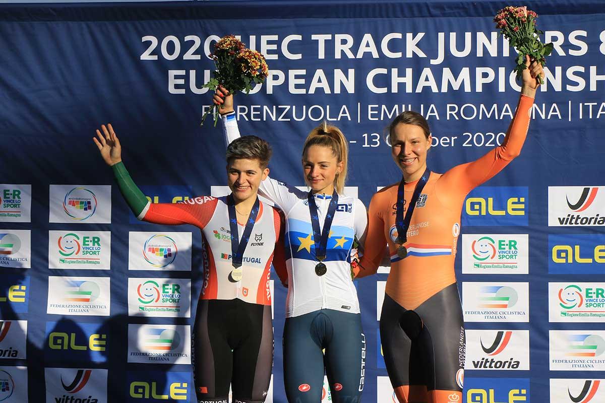 Il podio dell'Europeo Eliminazione Donne U23 a Fiorenzuola (foto Fabiano Ghilardi)