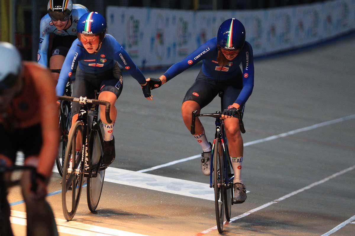 Valentina Basilico e Lara Crestanello terze all'Europeo Madison Donne Junior (foto Fabiano Ghilardi)