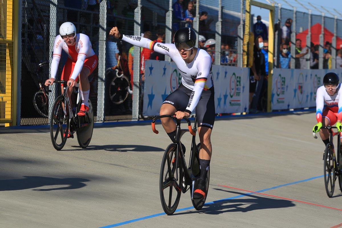 Anton Hohne vince l'Europeo Keirin U23 (foto Fabiano Ghilardi)
