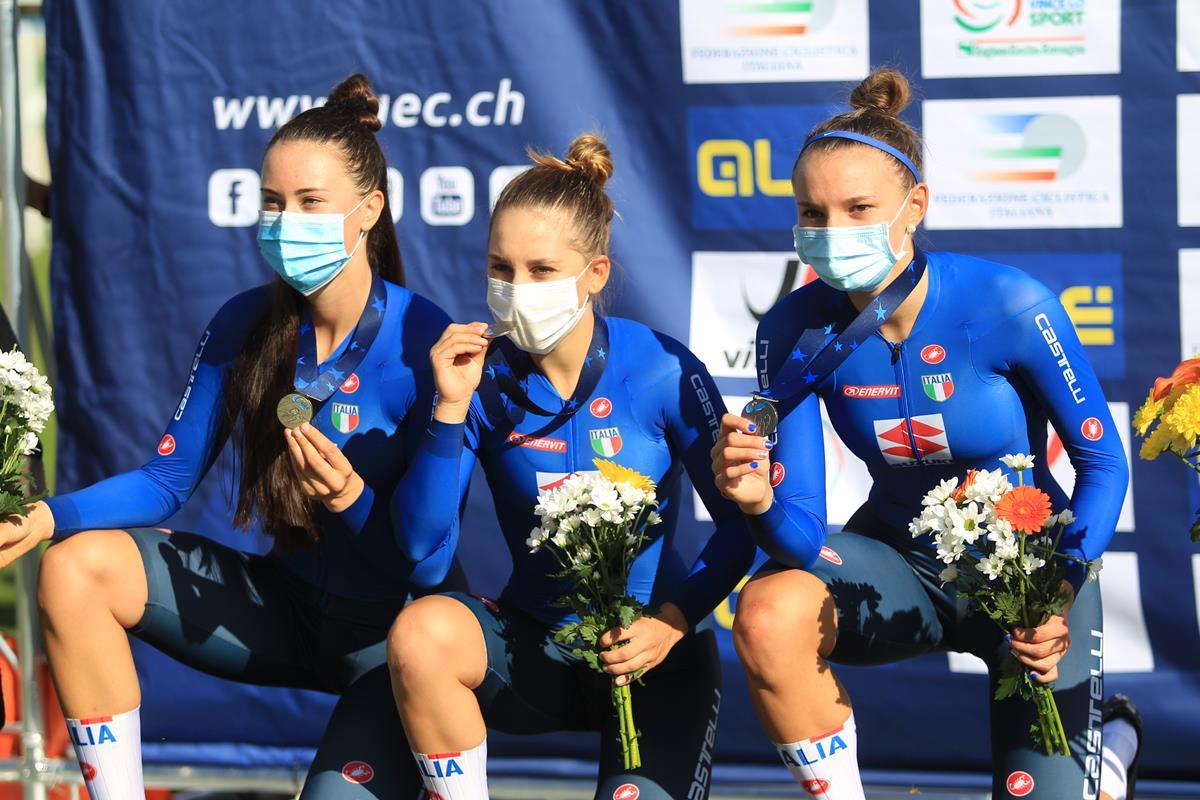 Sara Fiorin, Valentina Basilico e Gaia Tormena argento europeo a Fiorenzuola nella Velocità a squadre (foto Fabiano Ghilardi)