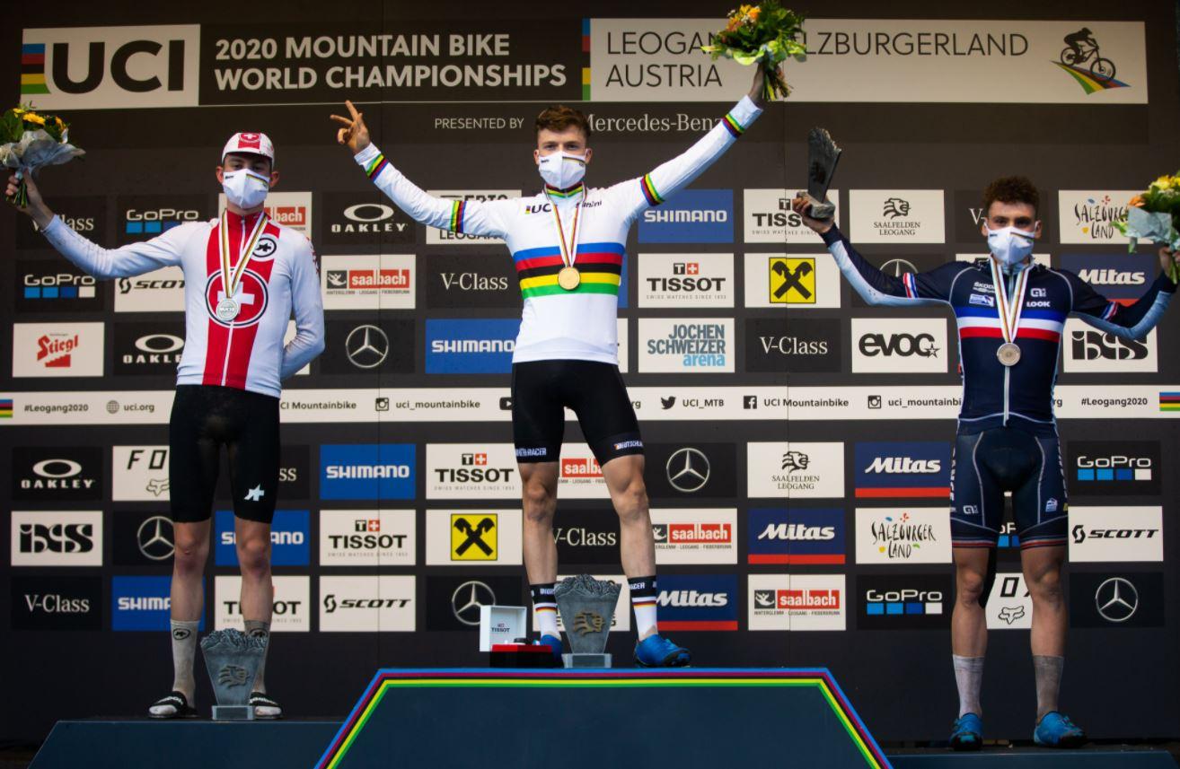 Il podio del Mondiale XCO Juniores 2020