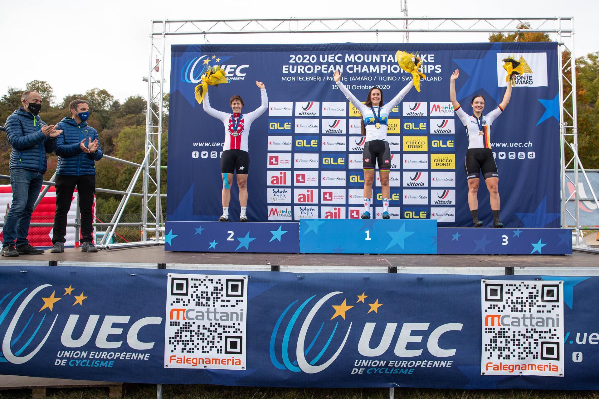 Gaia Tormena sul podio del Campionato Europeo Eliminator 2020 (foto Michele Mondini)