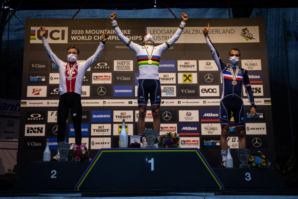 Il podio del Mondiale XCO Elite 2020