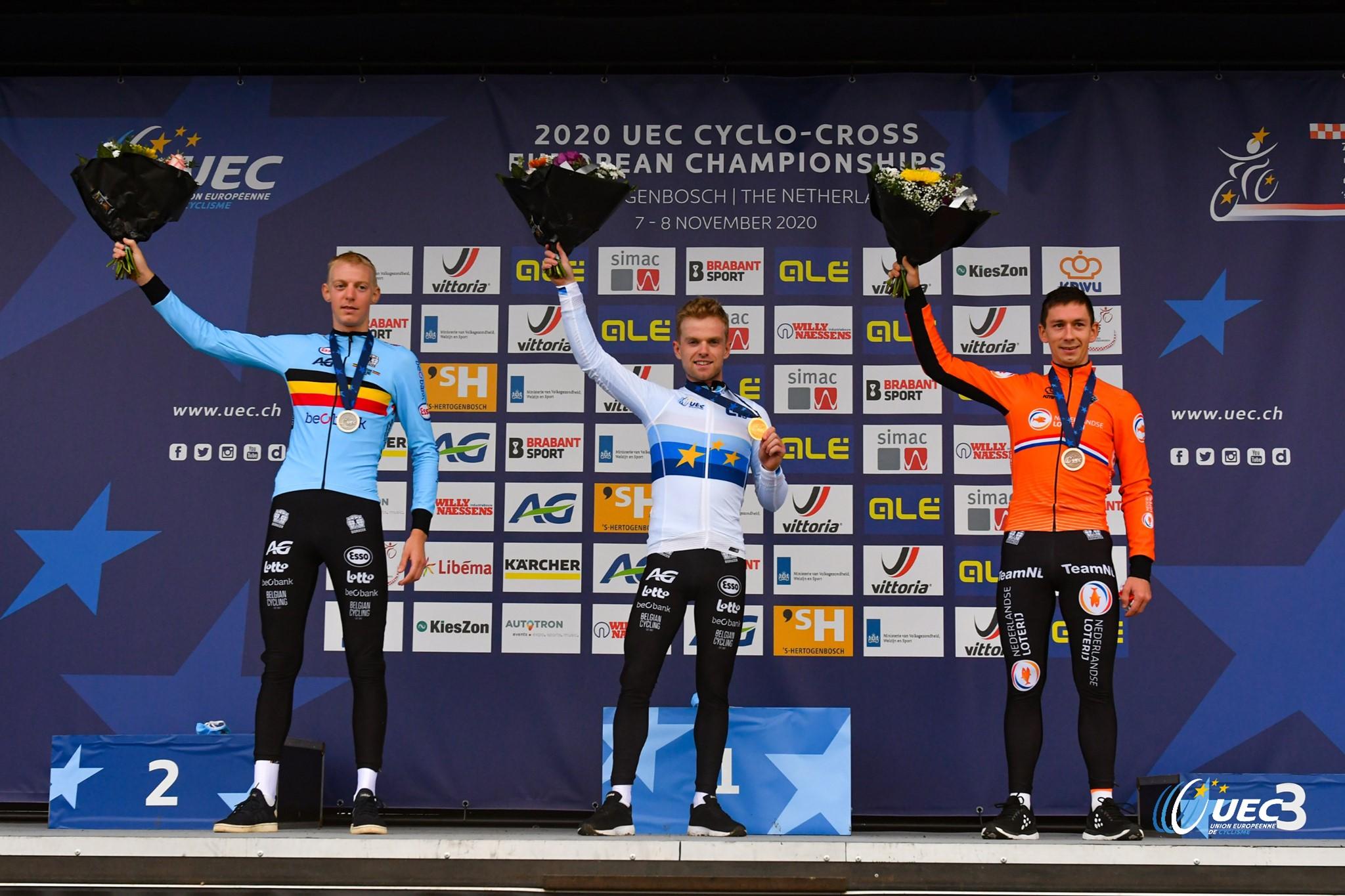 Il podio del Campionato Europeo Ciclocross Elite 2020 (foto UEC/BettiniPhoto)