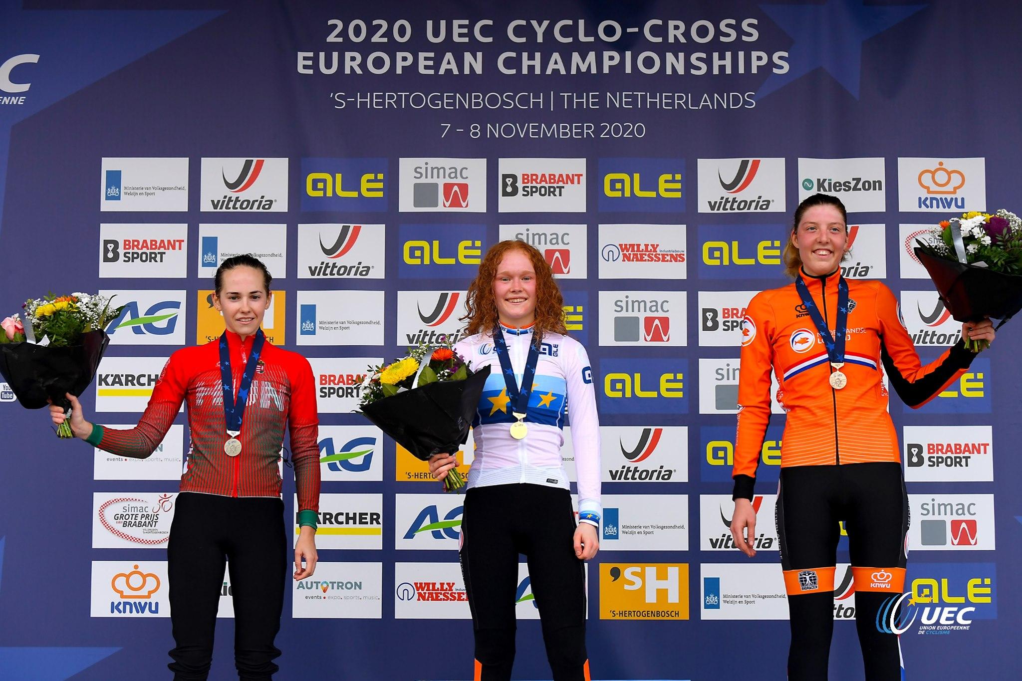 Il podio del Campionato Europeo Ciclocross Donne Under 23 2020 (foto UEC/BettiniPhoto)