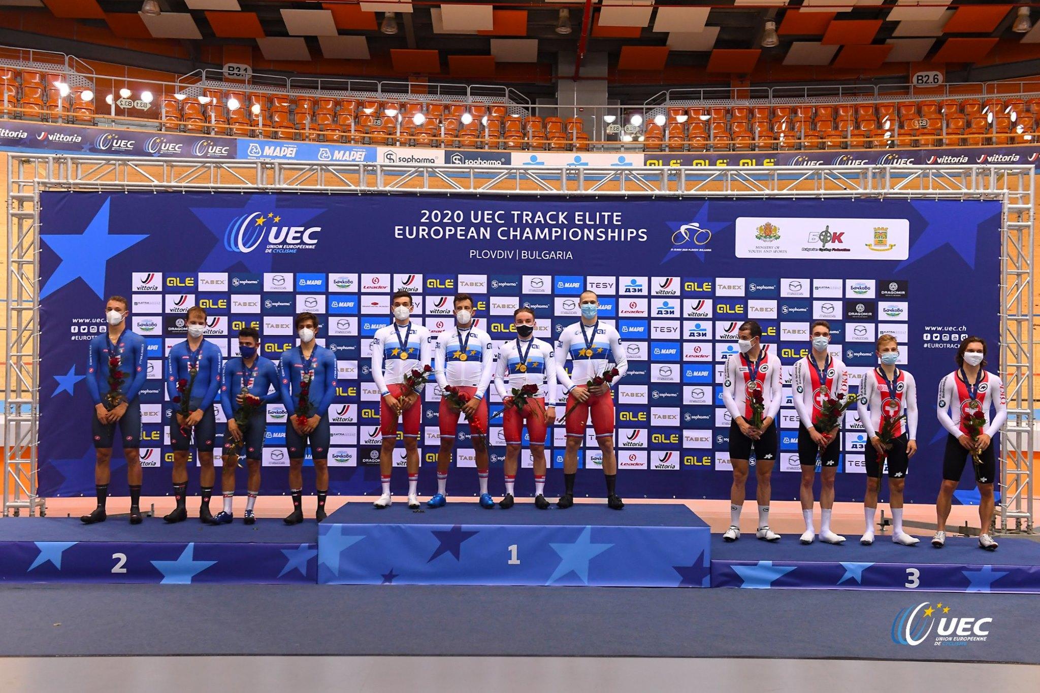 Il podio del Campionato Europeo Inseguimento a squadre Elite di Plovdiv (foto UEC/BettiniPhoto)