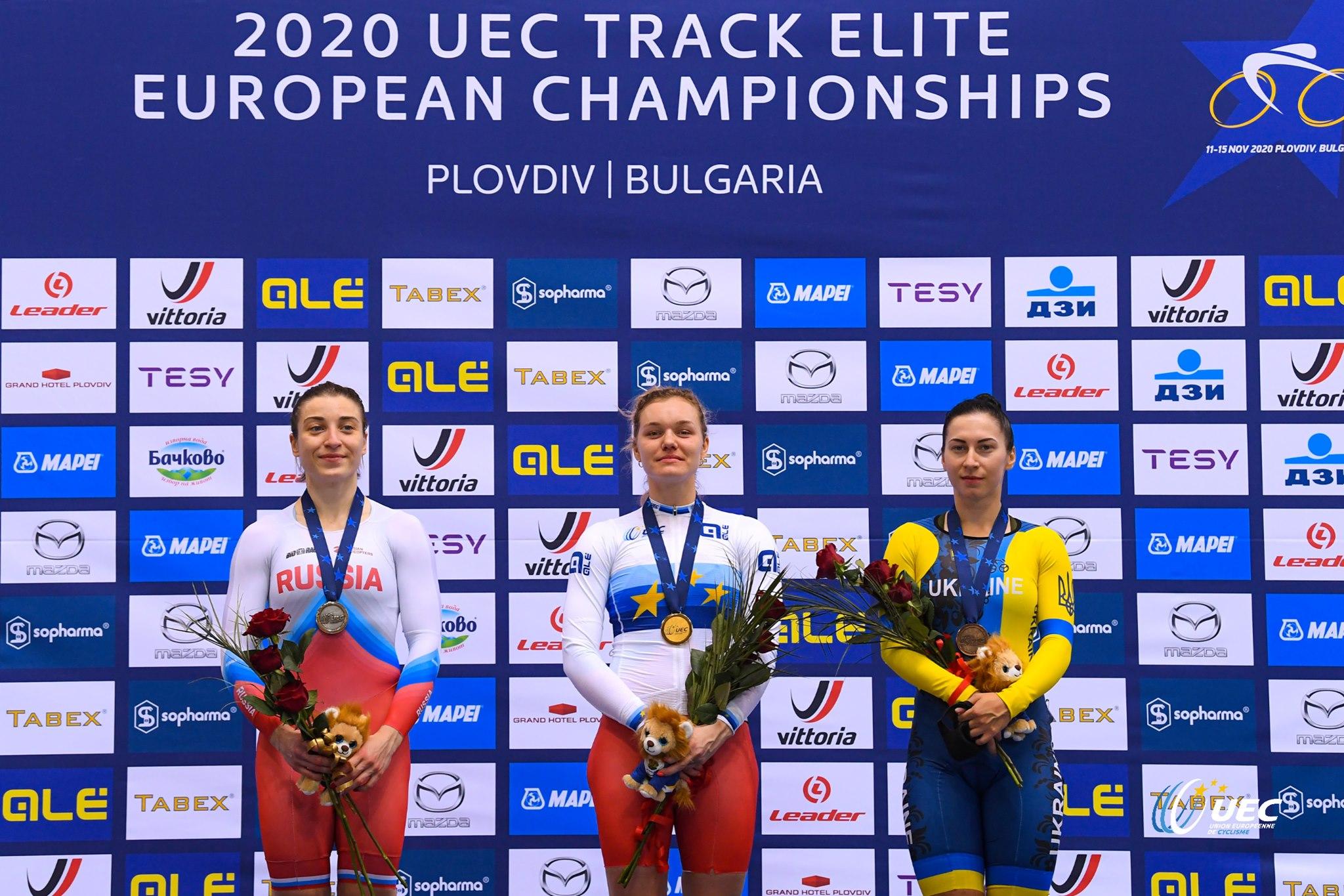 Il podio del Campionato Europeo Velocità Donne Elite (foto UEC/BettiniPhoto)