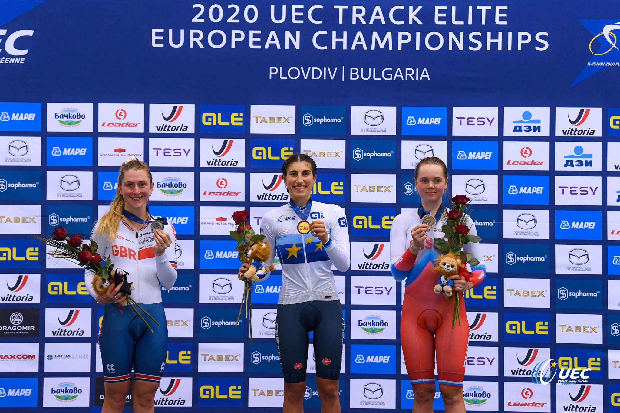 Il podio del Campionato Europeo Omnium Donne Elite a Plovdiv (foto UEC/ BettiniPhoto)