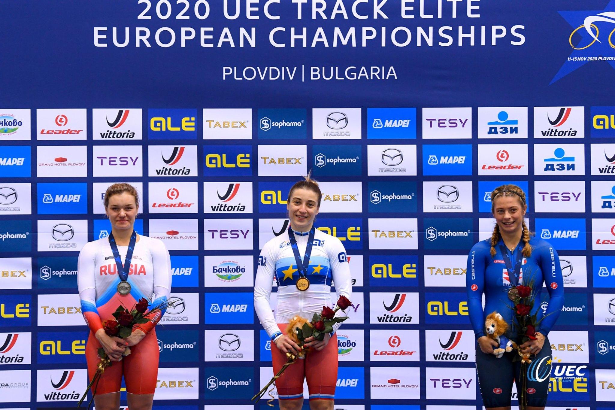 Il podio del Campionato Europeo Pista 500 metri Donne Elite (foto UEC/BettiniPhoto)