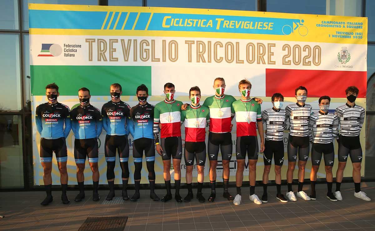 Il podio del Campionato Italiano Cronosquadre Under 23 2020