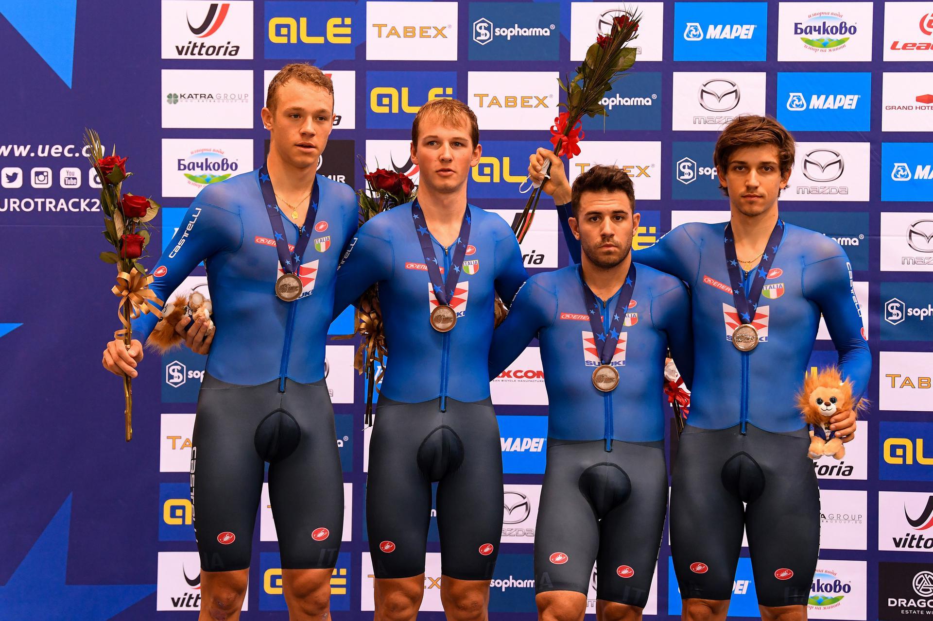 Azzurri argento all'Europeo Inseguimento a squadre Elite di Plovdiv (foto UEC/BettiniPhoto)