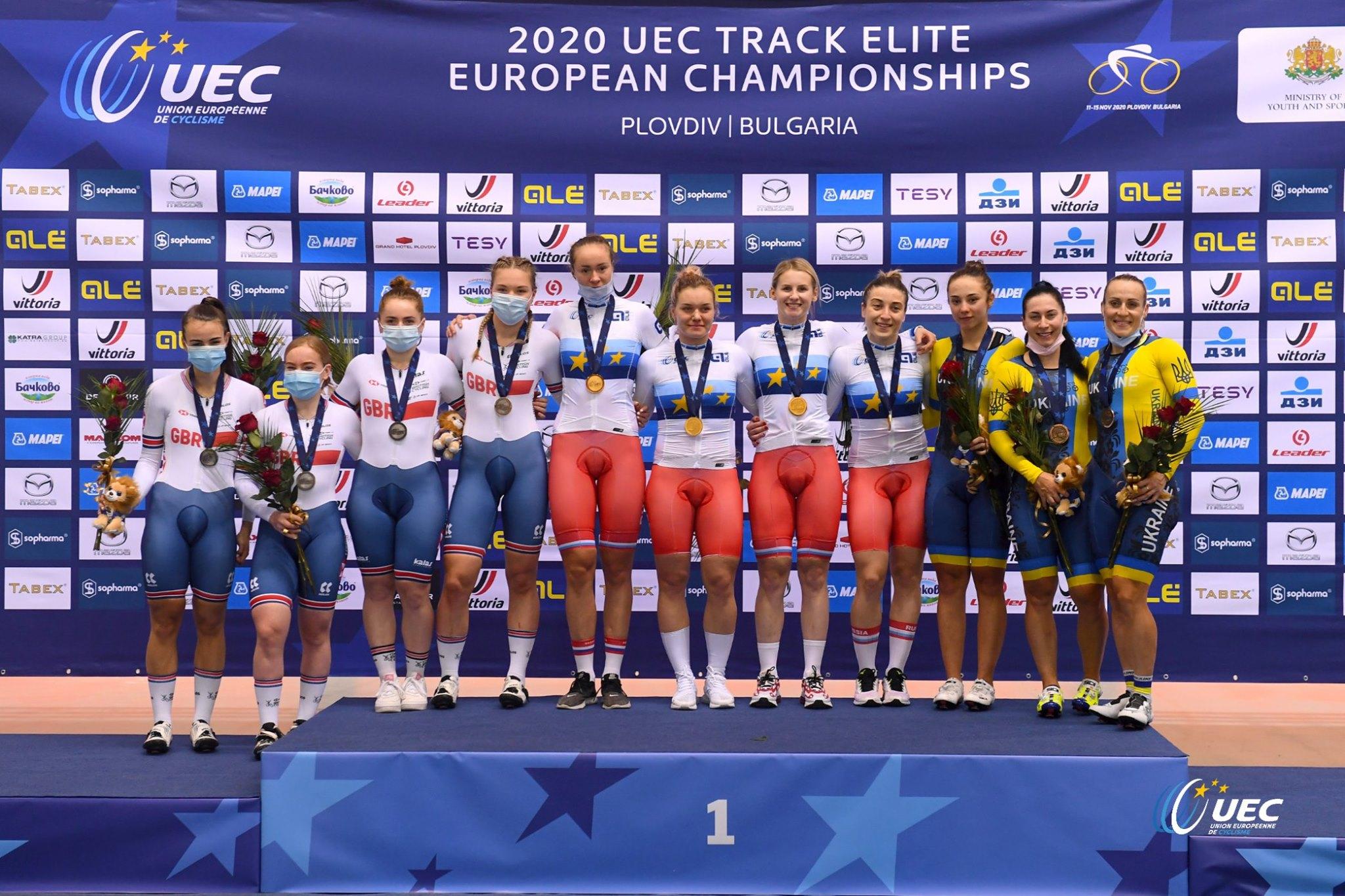 Il podio del Campionato Europeo Velocità a squadre Donne Elite 2020 (foto UEC/BettiniPhoto)