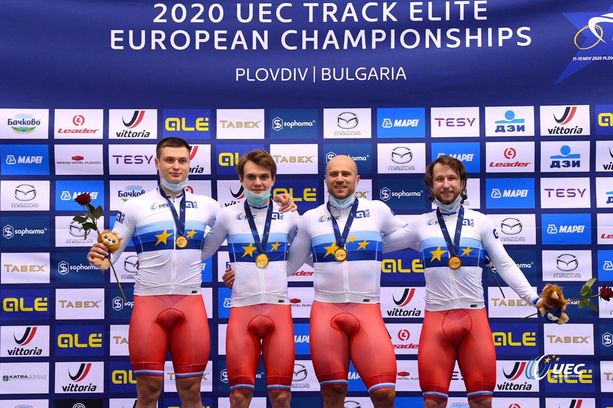 Russia sul gradino più alto del podio del Campionato Europeo Velocità a squadre Elite 2020 (foto UEC/BettiniPhoto)