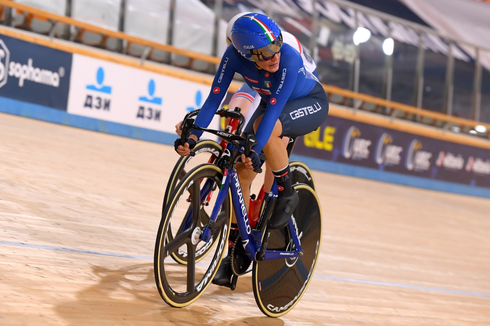 Silvia Zanardi in azione al Campionato Europeo Corsa a punti Donne Elite 2020 (foto BettiniPhoto)