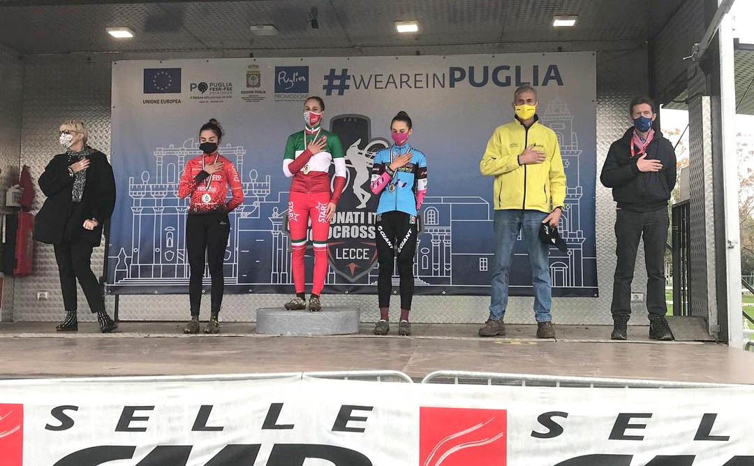 Il podio del Campionato Italiano Ciclocross 2021 Donne Junior vinto da Lucia Bramati