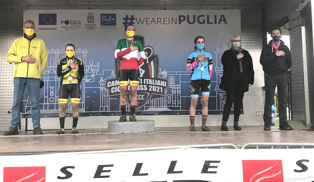 Il podio del Campionato Italiano Ciclocross 2021 Donne Under 23 vinto da Francesca Baroni