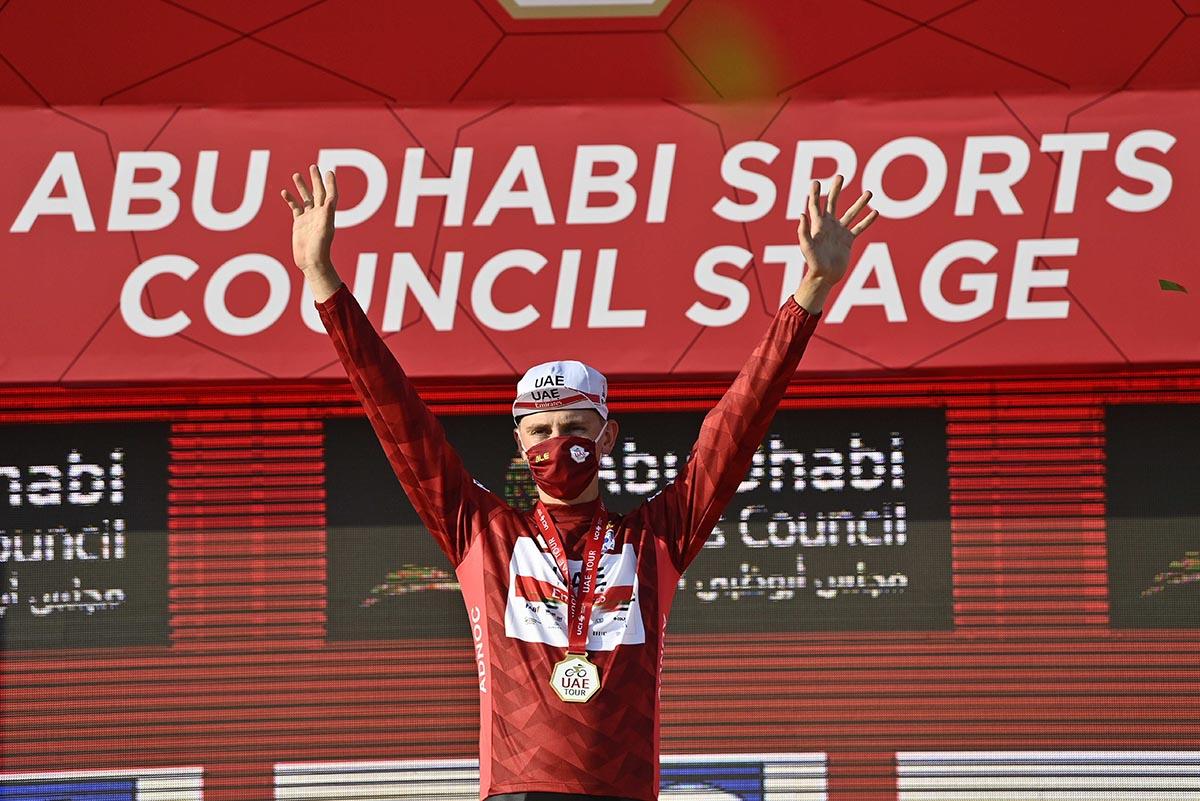 Tadej Pogacar leader dell'UAE Tour 2021 dopo la seconda tappa (foto LaPresse)
