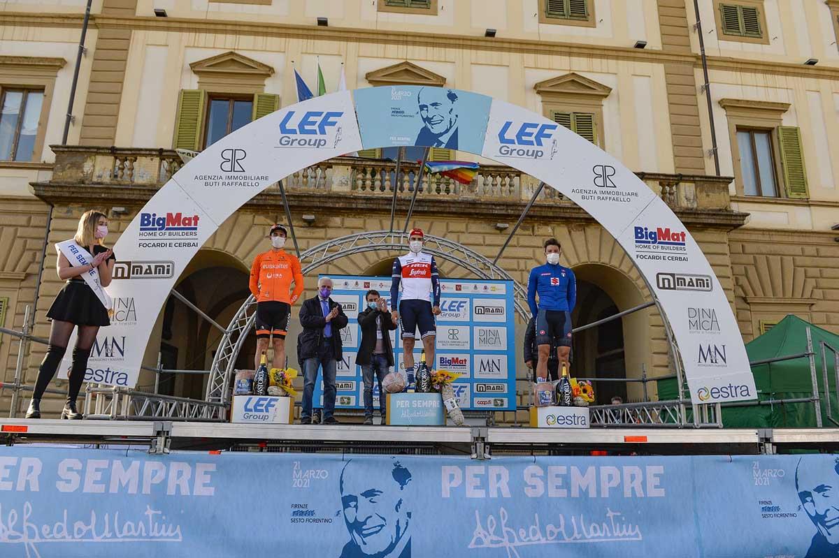 Il podio della prima edizione della Per sempre Alfredo vinta da Matteo Moschetti (foto Bettini)