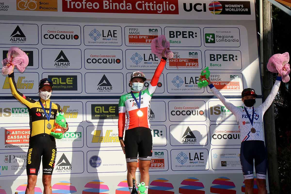 Il podio del Trofeo Binda 2021 vinto da Elisa Longo Borghini (foto Sportfoto.nl)