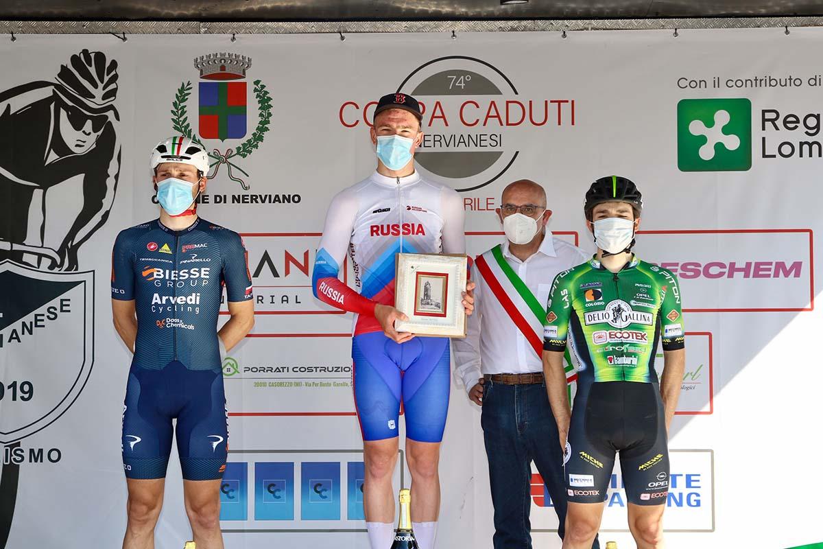 Il podio della Coppa Caduti Nervianesi 2021 (foto Photobicicailotto)