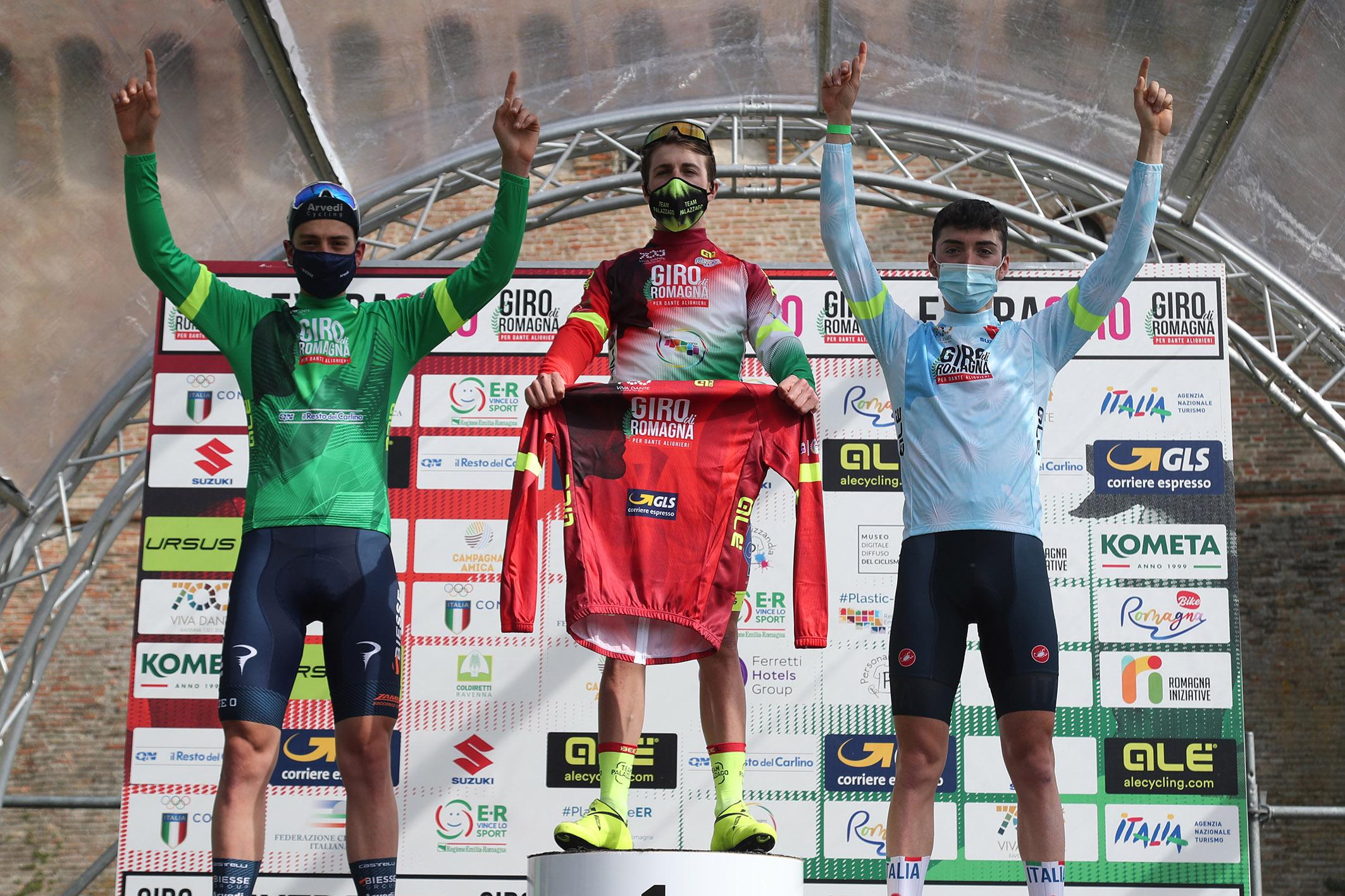 Le maglie dopo la prima tappa del Giro di Romagna per Dante Alighieri 2021