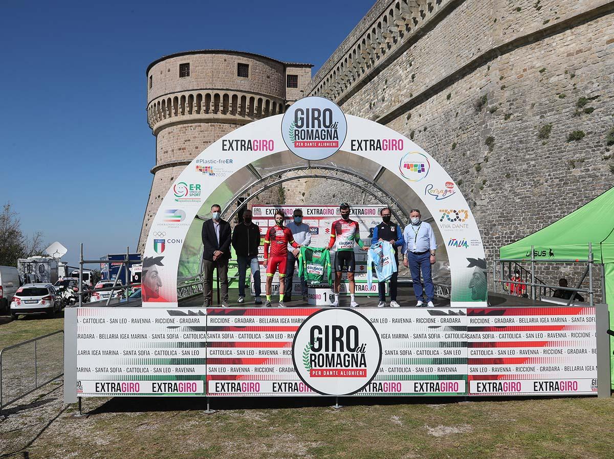 Le maglie dopo la terza tappa del Giro di Romagna per Dante Alighieri 2021 (foto Isolapress)