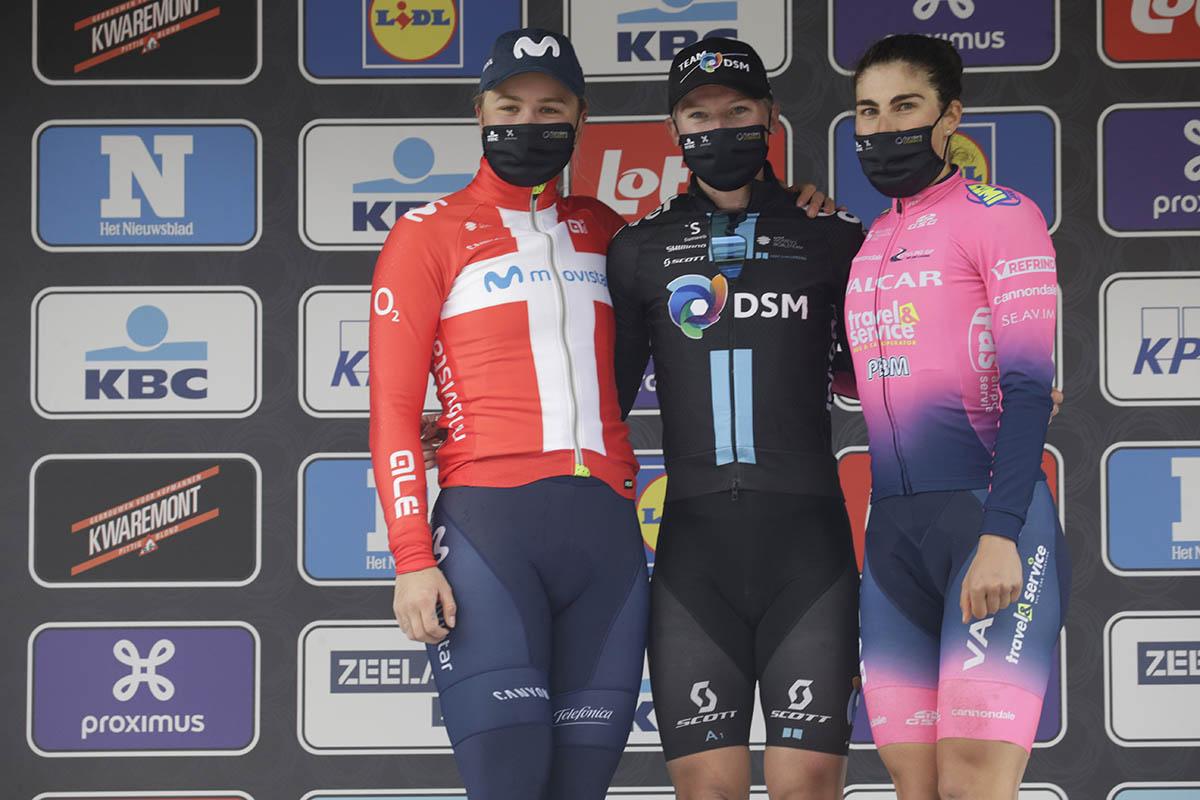 Il podio dello Scheldeprijs femminile 2021 (foto Cor Vos)