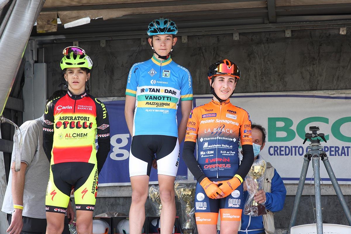 Il podio della gara Esordienti 1° anno di Alzate Brianza (foto Soncini)