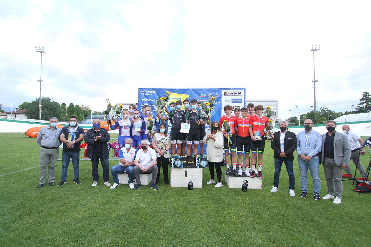 Il podio della prima tappa del Giro del Friuli Juniores 2021