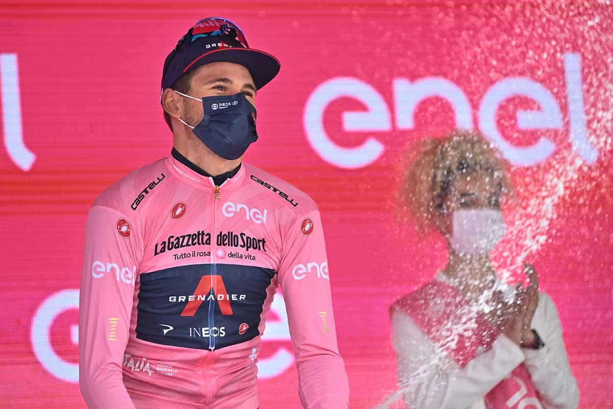 Filippo Ganna resta maglia rosa dopo la terza tappa (foto LaPresse)