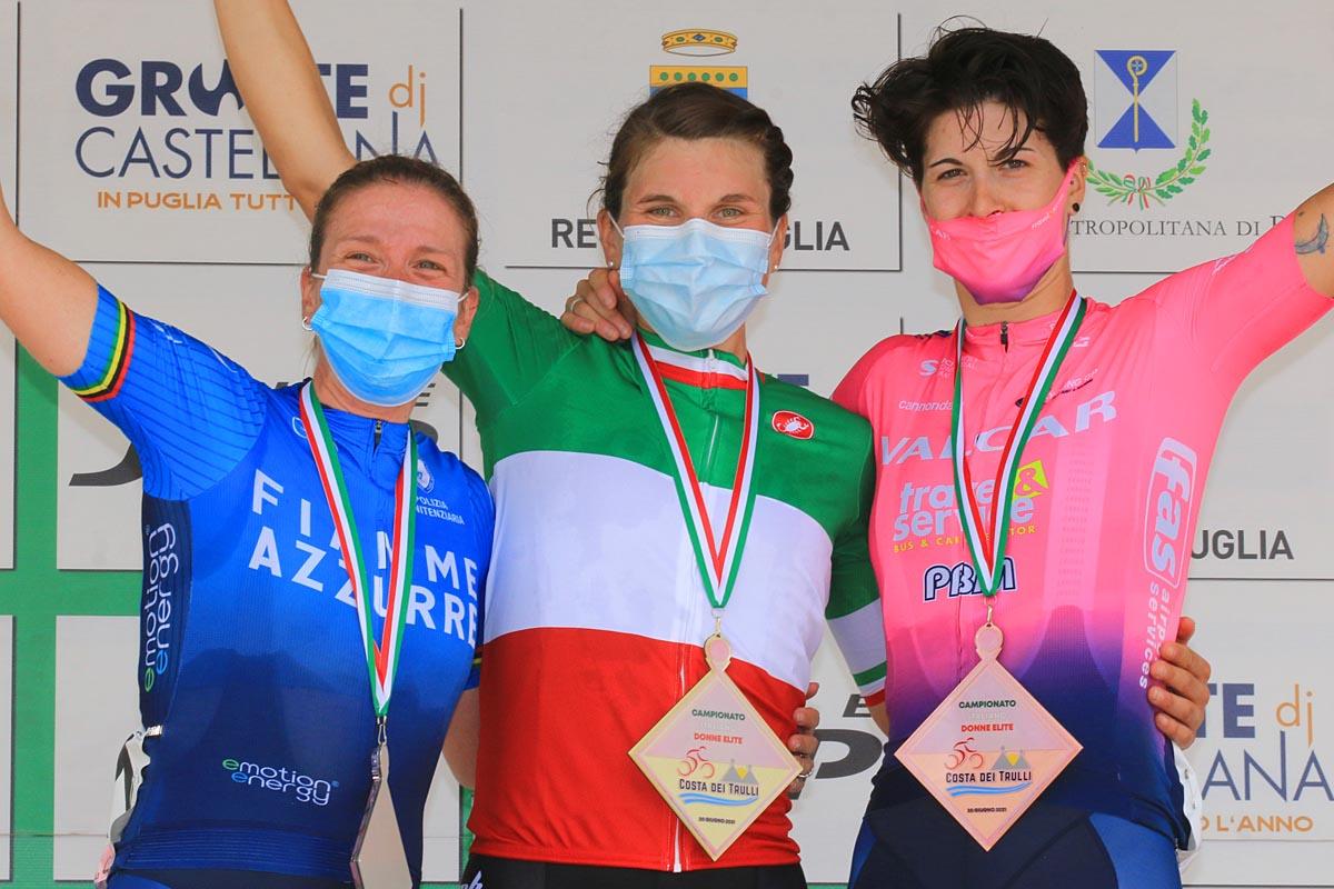 Il podio del Campionato Italiano strada Donne Elite 2021 (foto F. Ossola)