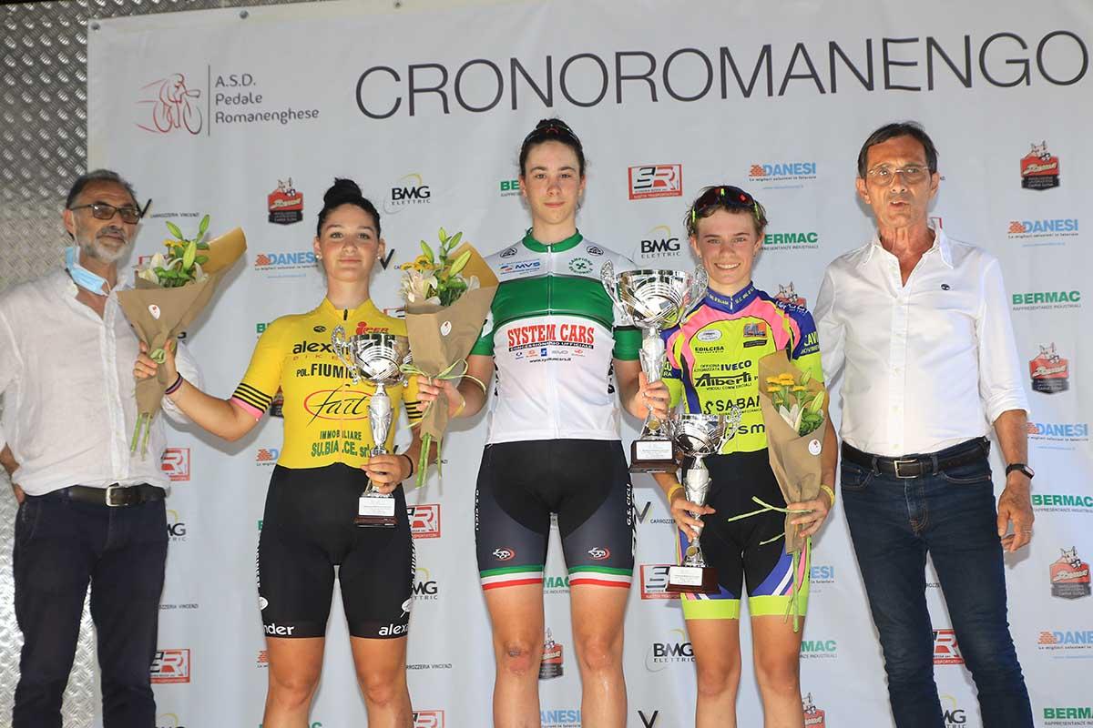 Il podio Donne Allieve della cronometro di Romanengo con Federica Venturelli campionessa lombarda (foto Fabiano Ghilardi)
