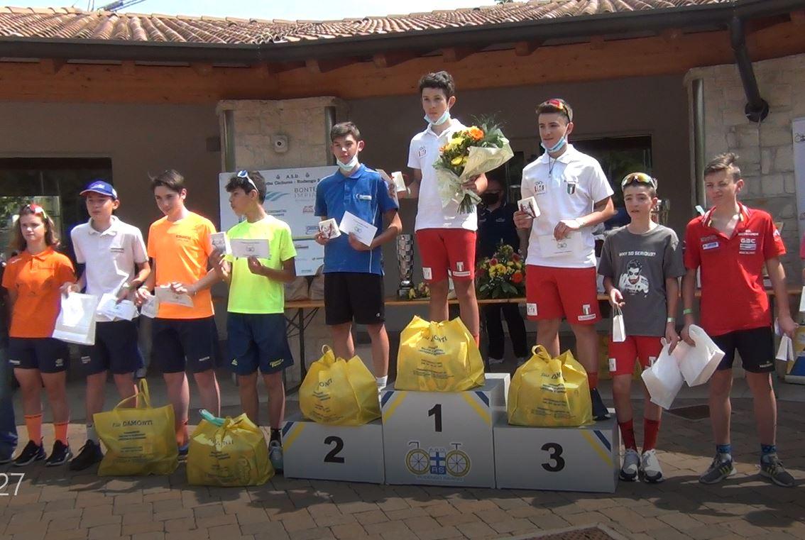 Il podio Esordienti 1° anno di Monticelli Brusati