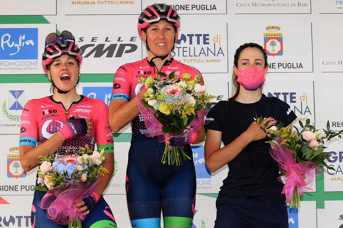 Il podio del Criterium Costa dei Trulli ad Alberobello (foto F.Ossola)