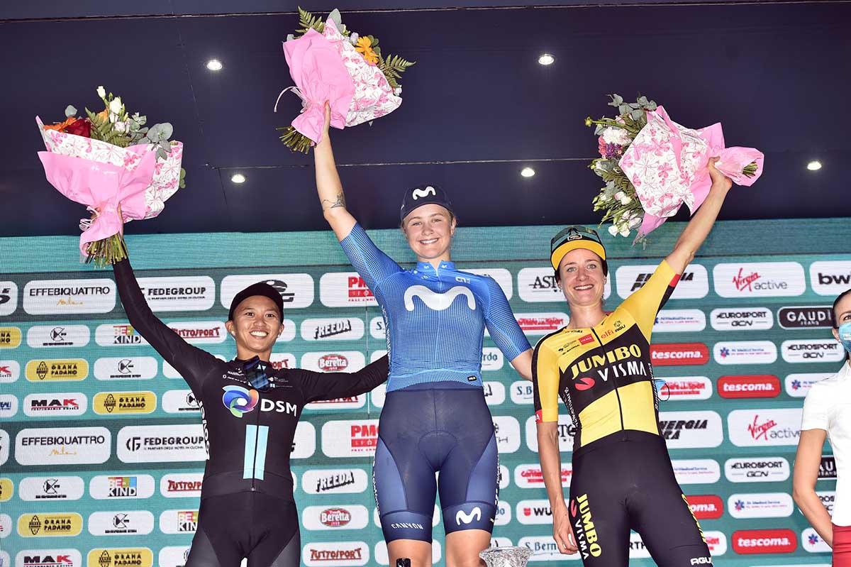Il podio della sesta tappa del Giro d'Italia Donne 2021 (foto BettiniPhoto)