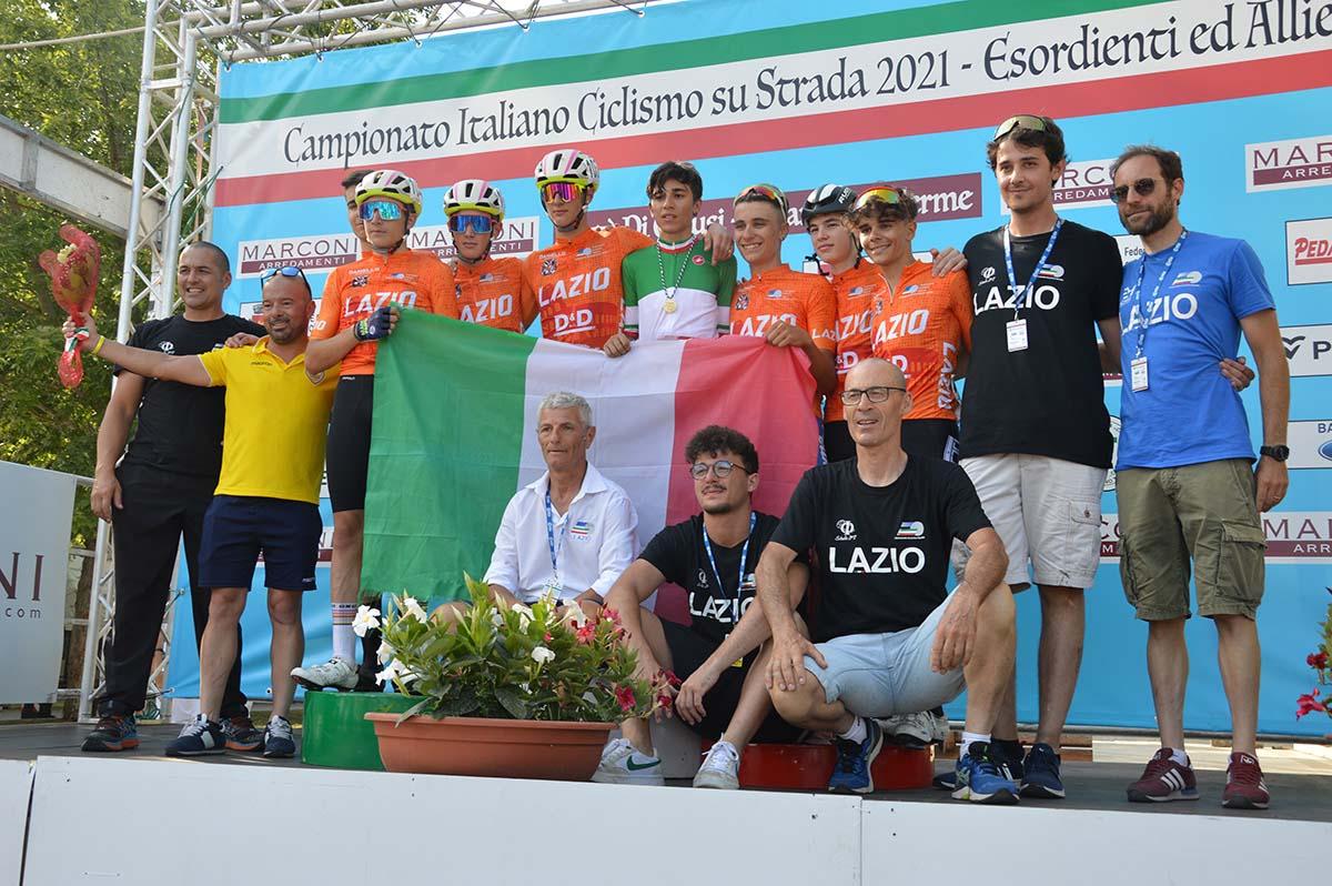 Festa del Lazio al Campionato Italiano strada Allievi 2021 a Chianciano Terme