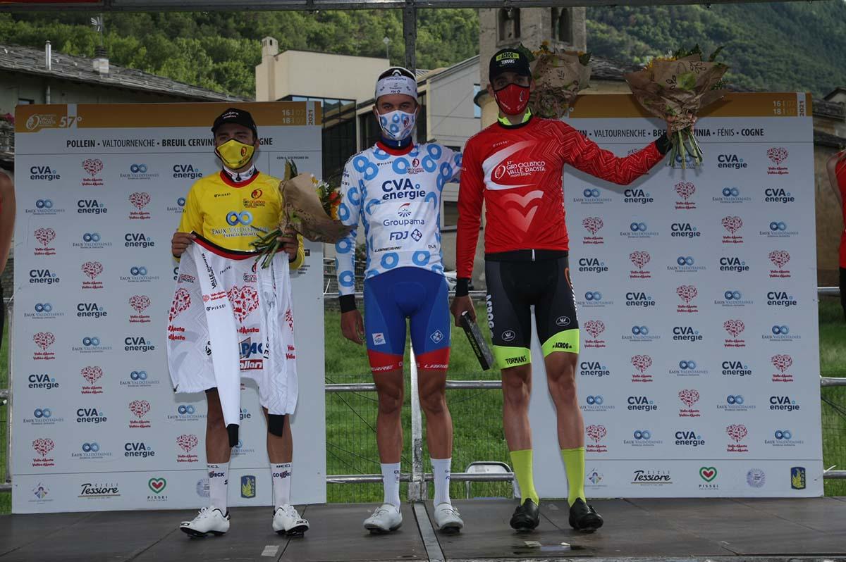 Le maglie dopo la prima tappa del Giro della Valle d'Aosta 2021 (foto Giuliano Viganò)