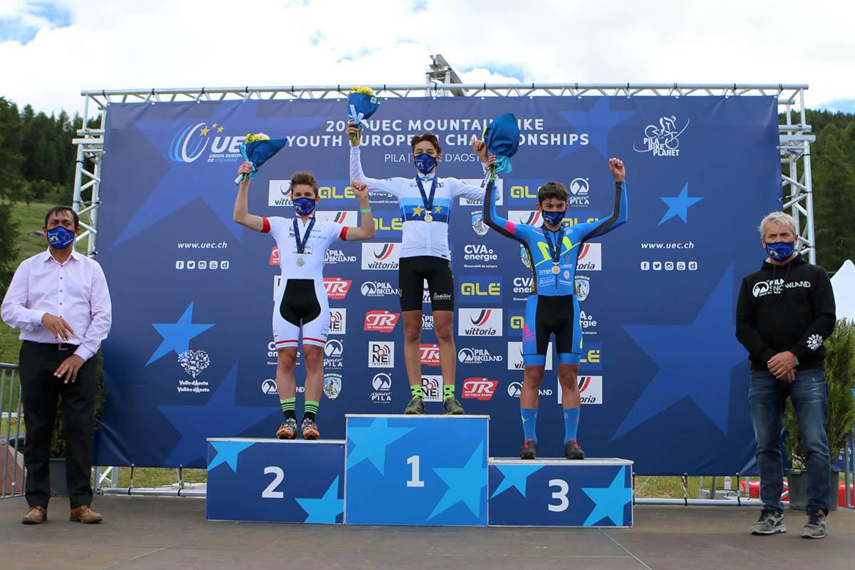 Il podio del Campionato Europeo XCE U15 a Pila