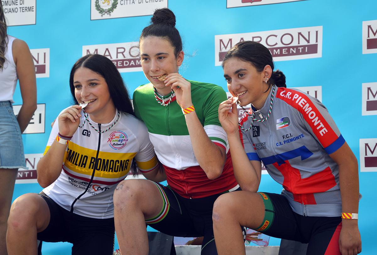 Il podio del Campionato Italiano Donne Allieve 2021 a Chianciano Terme