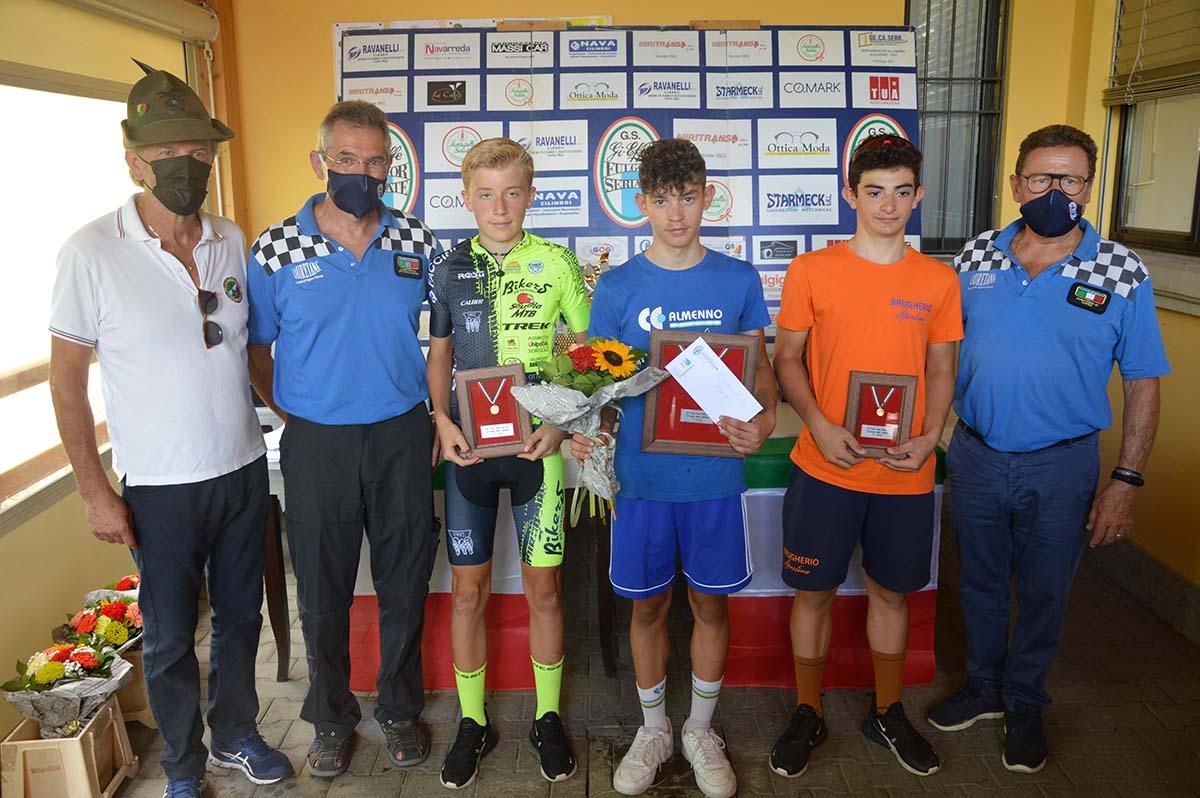 Il podio Esordienti 1° anno di Cassinone di Seriate (foto Roberto Amaglio)