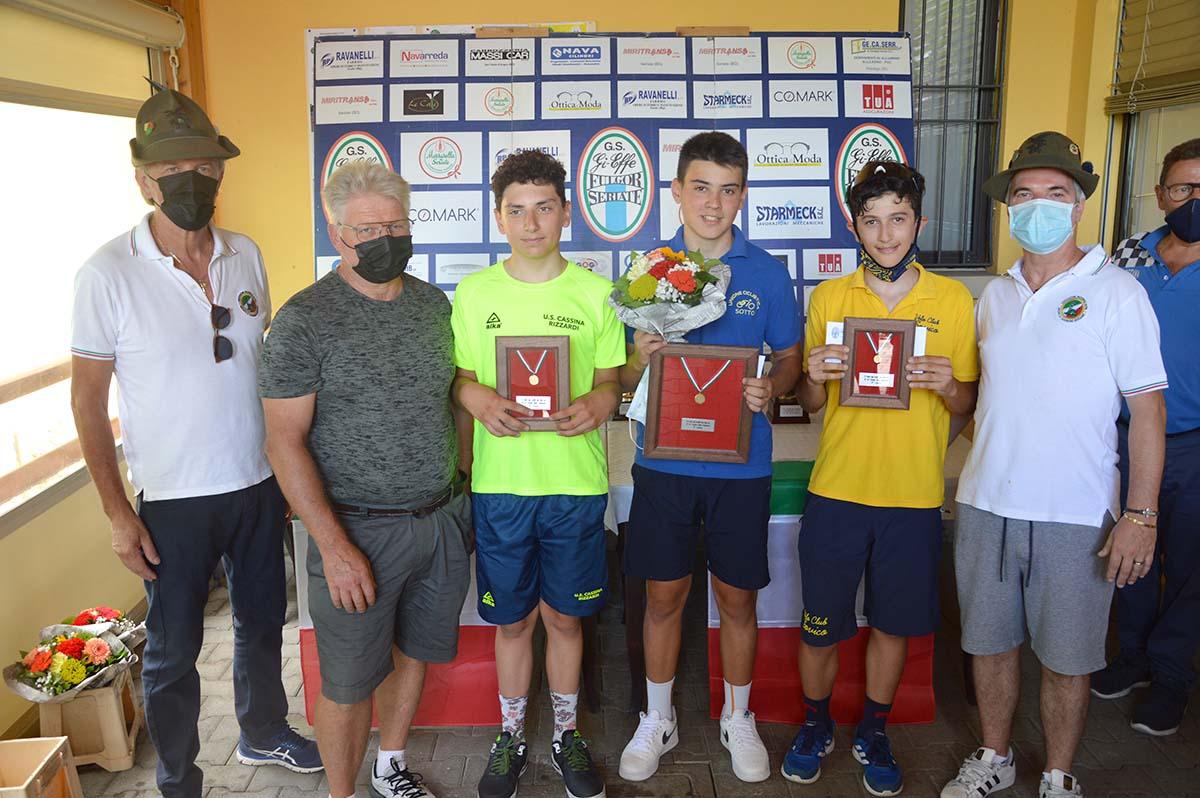 Il podio Esordienti 2° anno di Cassinone di Seriate (foto Roberto Amaglio)