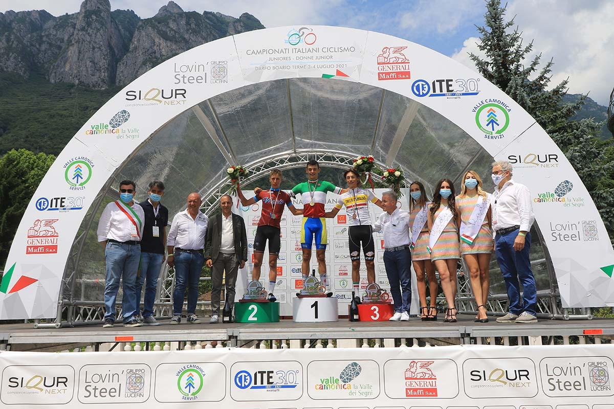 Il podio del Campionato Italiano Juniores a Darfo Boario Terme vinto da Alessandro Romele (foto Fabiano Ghilardi)