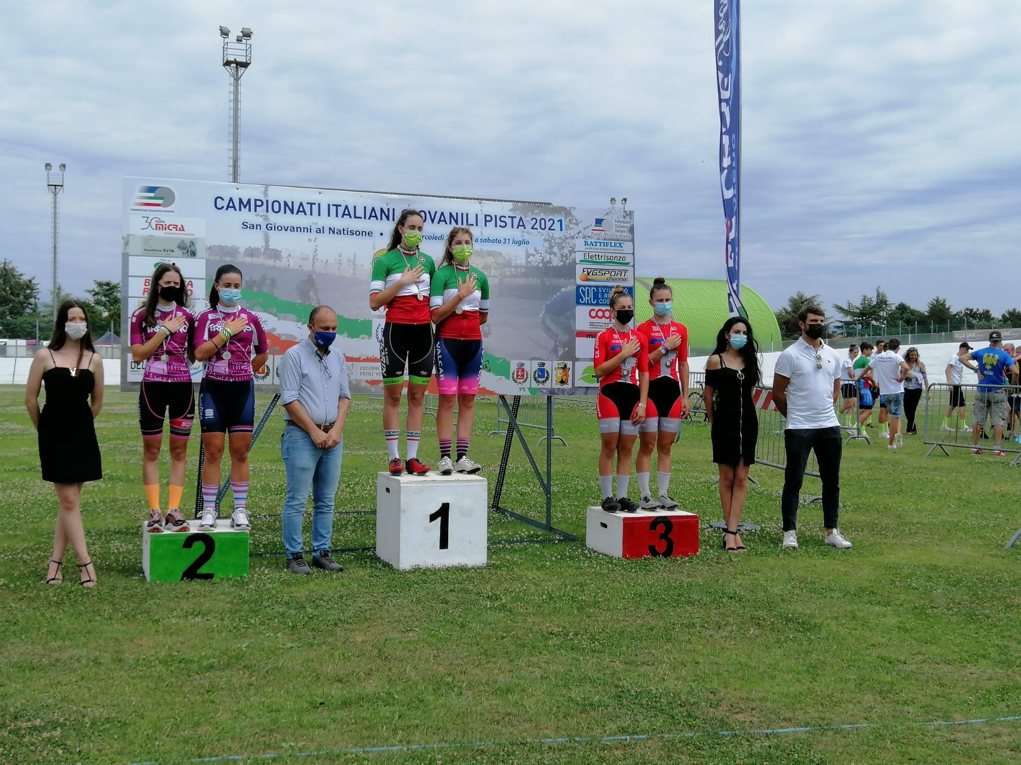 Il podio del Campionato Italiano Madison Donne Allieve