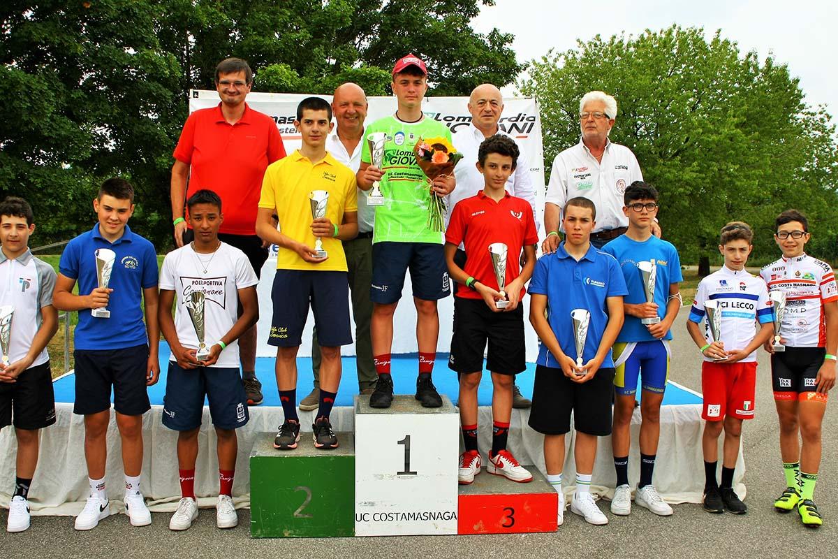 Il podio del Lombardia Giovani 2021 Esordienti 2° anno (foto Berry)