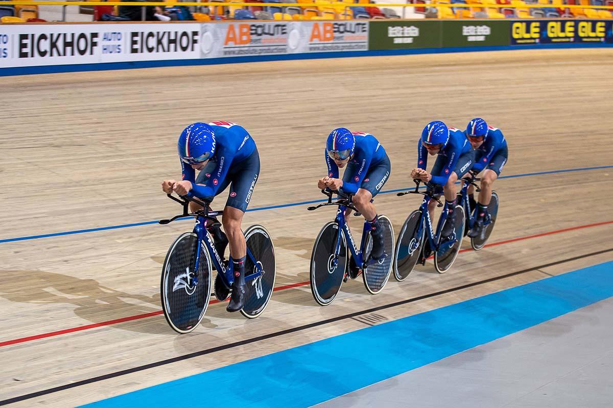 Il quartetto Juniores ai Campionati Europei pista di Apeldoorn ha fatto registrare il nuovo Record italiano (foto Sportfoto.nl)
