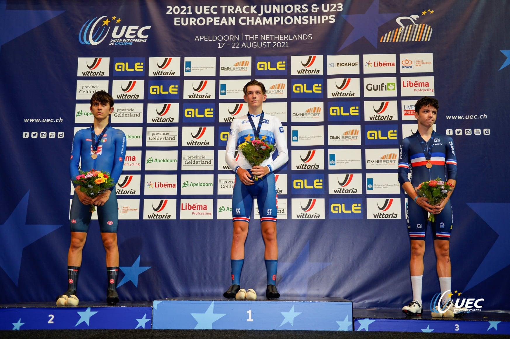 Il podio del Campionato Europeo Omnium Juniores 2021 (foto UEC/BettiniPhoto)