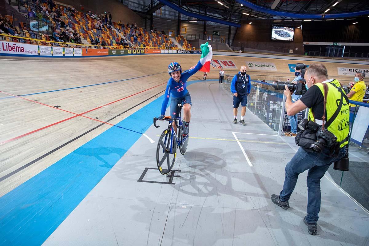 Chiara Consonni vince il Campionato Europeo Eliminazione Donne Under 23 (foto Sportfoto.nl)